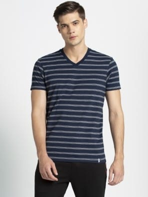Mid Grey Melange & Navy T-Shirt