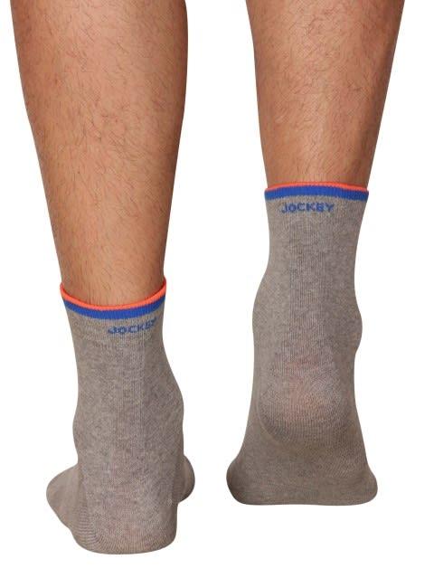 Mid Grey & Neon Orange Men Ankle Socks