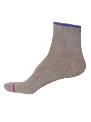 Mid Grey & Neon Orange Men Ankle Socks
