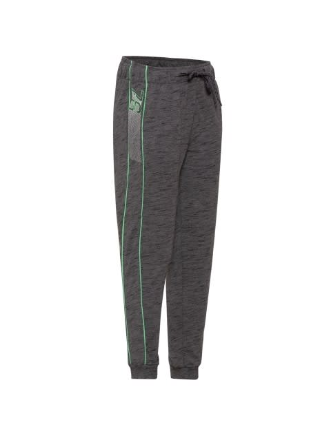 Deep Grey Slub & Green Track Pant