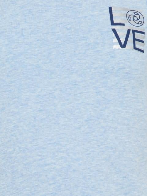 Sky Blue Melange Printed Tank Top