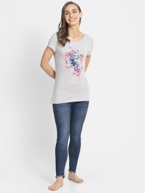 Grey Melange Print44 Graphic T-Shirt