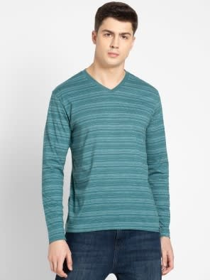 Pacific Green V-Neck Long Sleeve T-Shirt