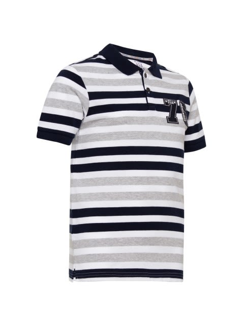 White Stripe01 Boys Polo T-Shirt
