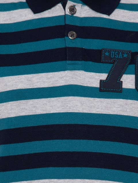 Teal Green Stripe02 Boys Polo T-Shirt