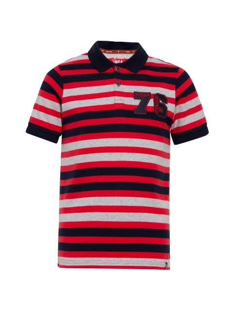 Red Stripe04 Boys Polo T-Shirt