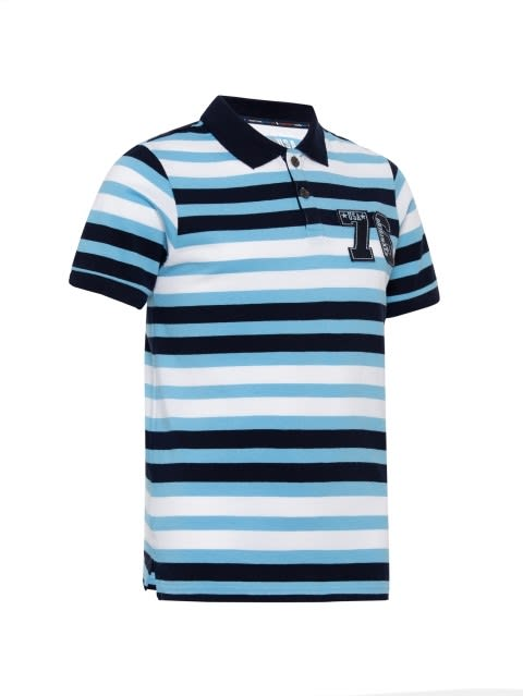 Blue Stripe05 Boys Polo T-Shirt