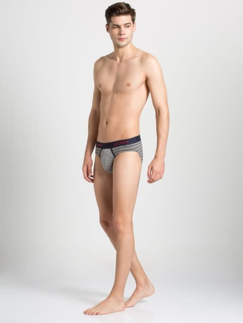 Charcoal Mel & Grey Striped Yarn dyed Brief