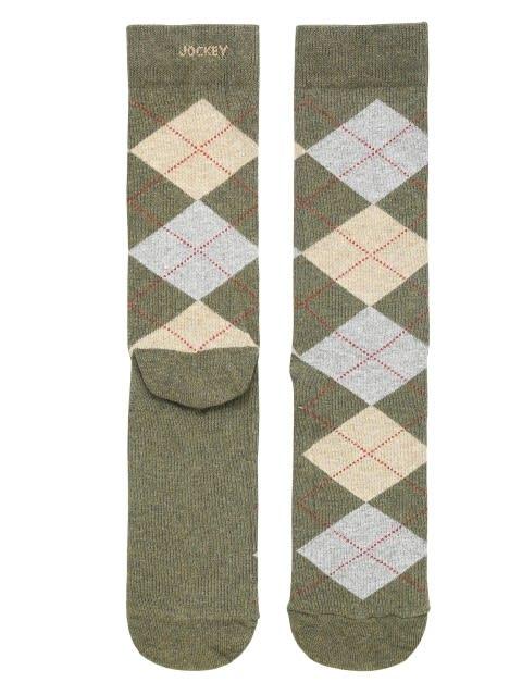 Green Melange Men Calf Length Socks