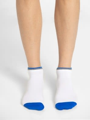 White & Assorted Neon Colors Men Low Show Socks