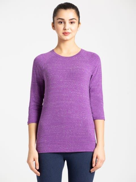 Purple Snow Melange 3 quarter Sleeve T-Shirt