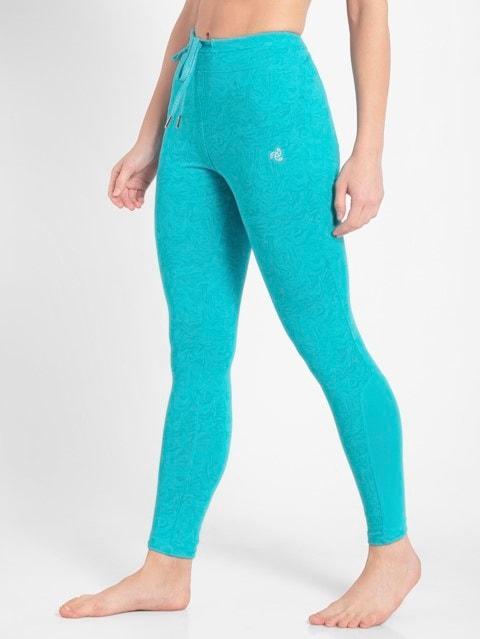 J Teal Printed Yoga Pant