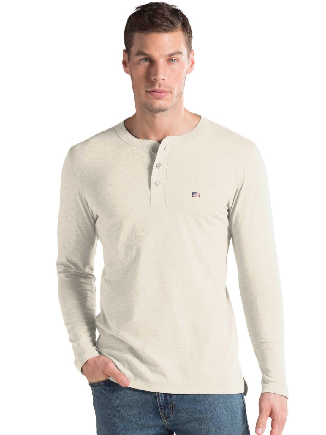Jockey India - Cream Melange Long Sleeve T-Shirt   T-Shirt for Men