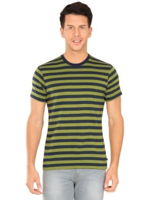 a4d993774 Navy   Cedar Green Crew neck T-shirt