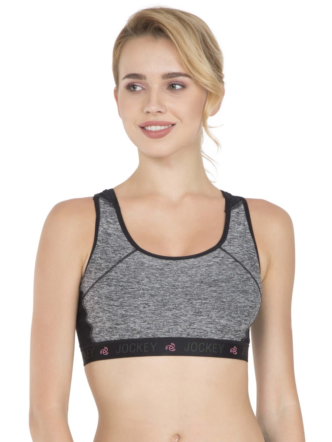 fashion design entire collection top-rated quality Jockey Women Bras | Black Melange Sports Bra